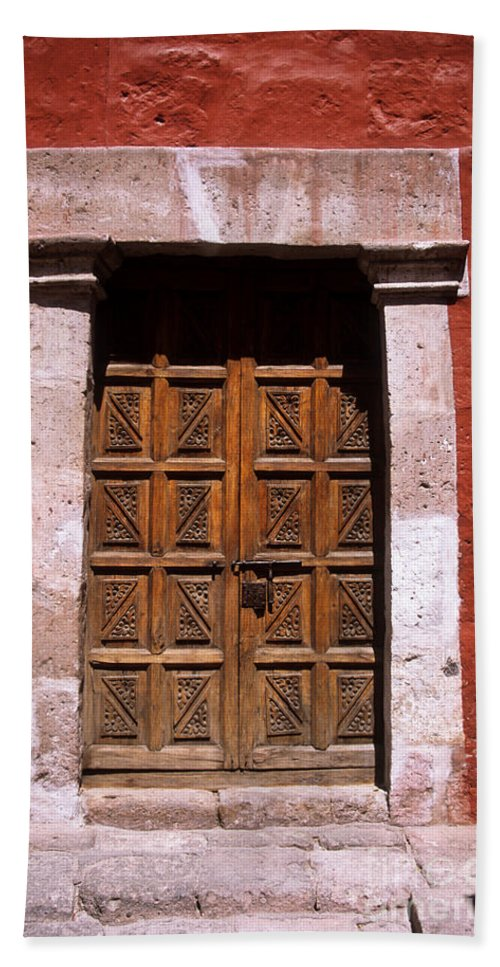 Peru Hand Towel featuring the photograph Colonial Door Arequipa Peru by James Brunker