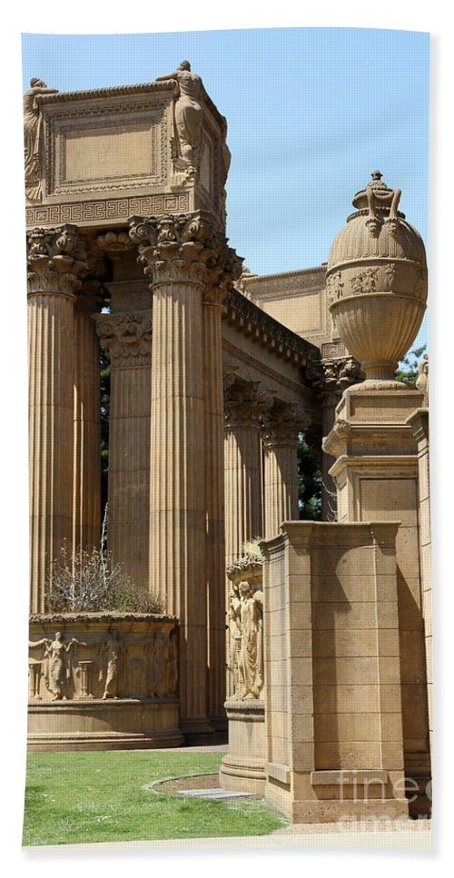 Palace Of Fine Arts Bath Sheet featuring the photograph Colonnades Palaces Of Fine Arts by Christiane Schulze Art And Photography