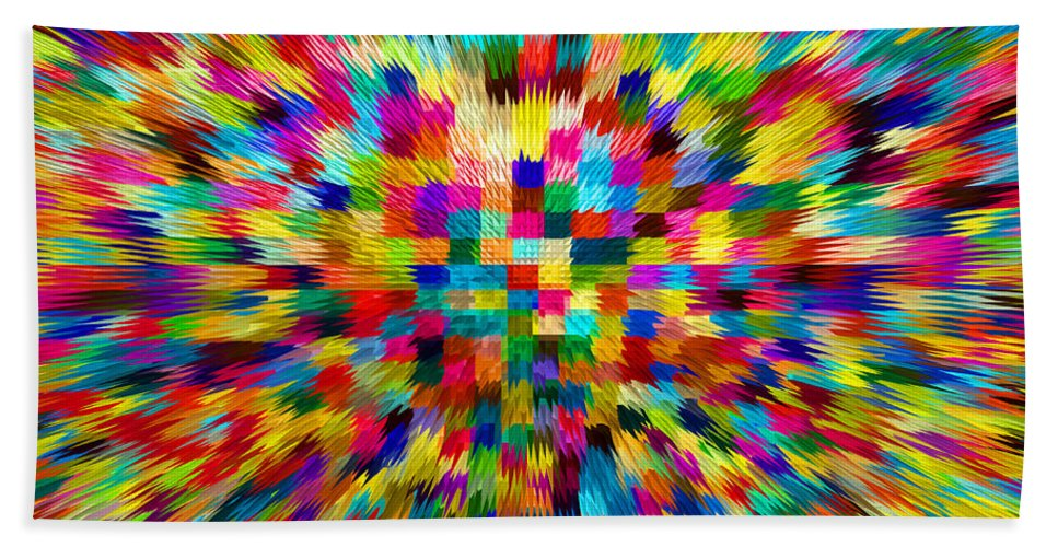 Waves Hand Towel featuring the digital art Color Explosion I by Alys Caviness-Gober