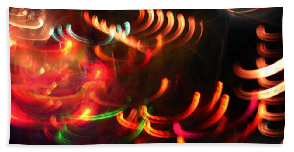 Curves Hand Towel featuring the photograph Color Light Motion by Ric Bascobert