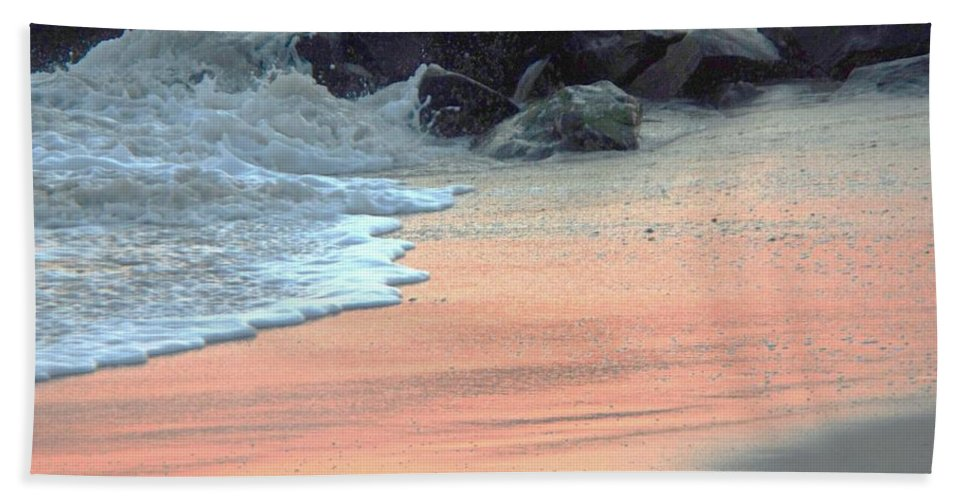 Color Hand Towel featuring the painting Color Of Sand Cape May Nj by Eric Schiabor