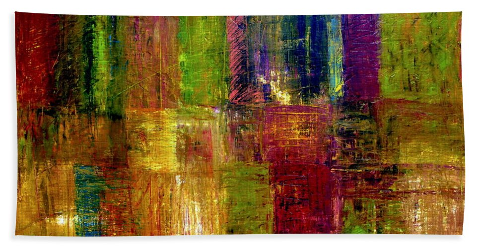 Abstract Bath Towel featuring the painting Color Panel Abstract by Michelle Calkins