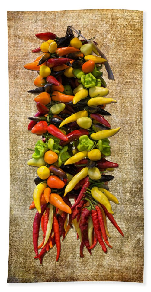 Multi Color Hand Towel featuring the photograph Color Peppers From Spain With Textured Background Dsc01467 by Greg Kluempers