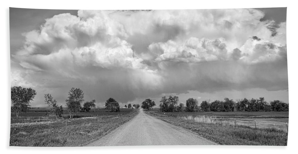 Road Hand Towel featuring the photograph Colorado Country Road Stormin Bw Skies by James BO Insogna