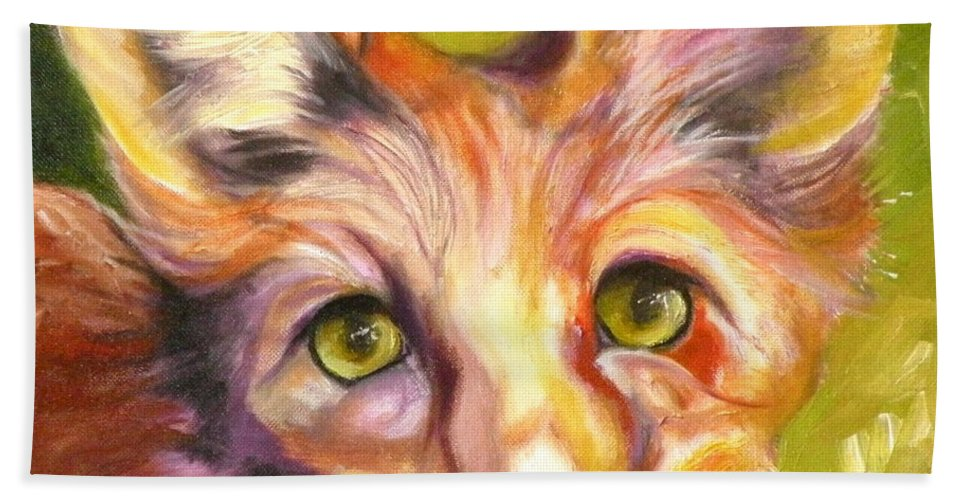 Oil Painting Hand Towel featuring the painting Colorado Fox by Susan A Becker