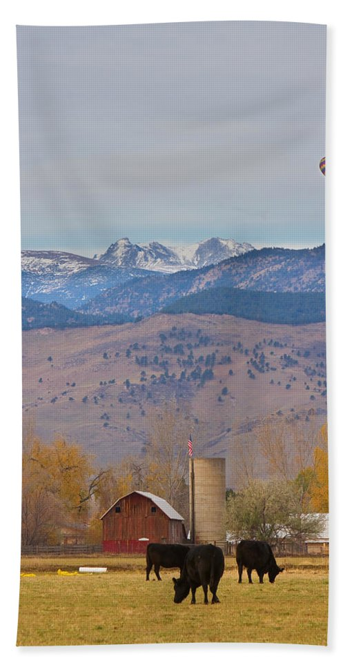 'hot Air Balloon' Bath Sheet featuring the photograph Colorado Hot Air Ballooning by James BO Insogna