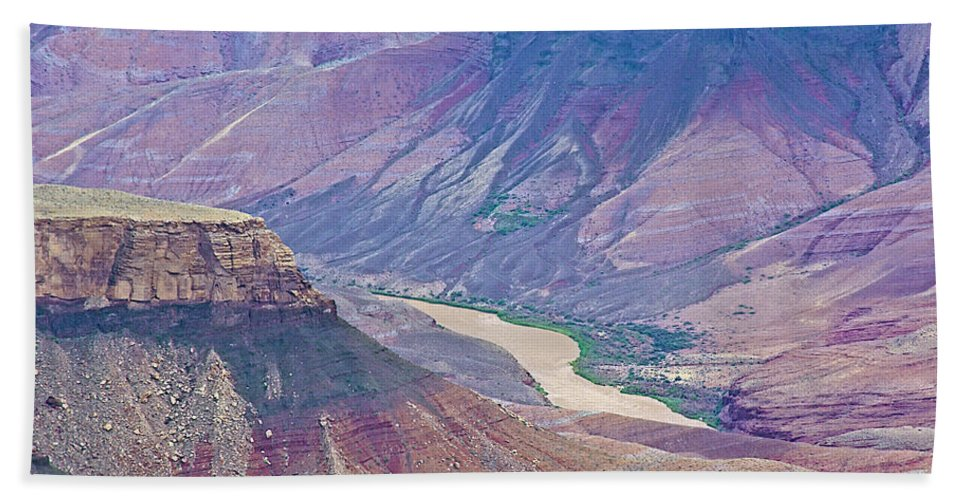 Colorado River At Cape Royal On North Rim/grand Canyon National Park Hand Towel featuring the photograph Colorado River At Cape Royal On North Rim Of Grand Canyon-arizona by Ruth Hager