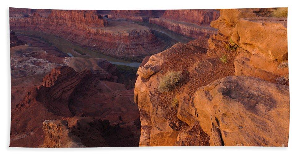 Nature Bath Sheet featuring the photograph Colorado River At Dawn by John Shaw