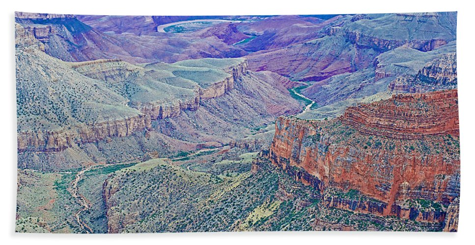 Colorado River From Walhalla Overlook On On North Rim/grand Canyon National Park Bath Sheet featuring the photograph Colorado River From Walhalla Overlook On North Rim Of Grand Canyon-arizona by Ruth Hager