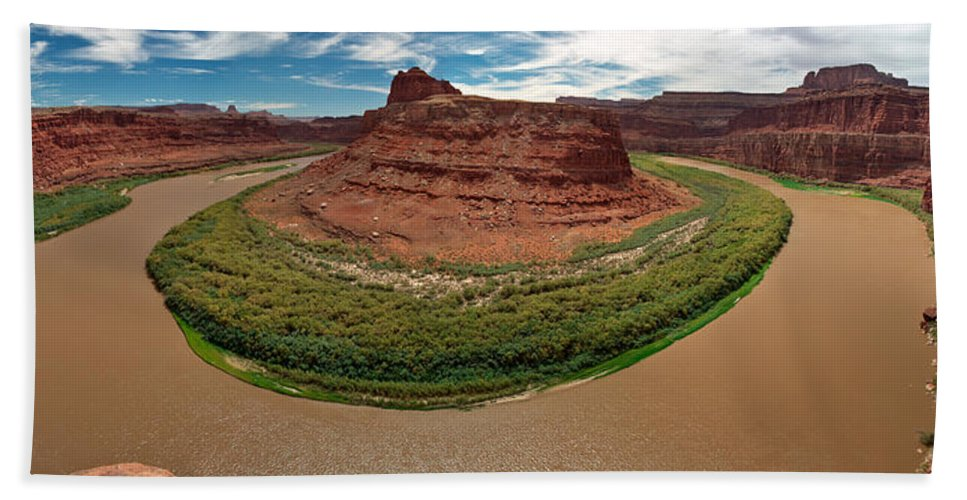 3scape Photos Hand Towel featuring the photograph Colorado River Gooseneck by Adam Romanowicz