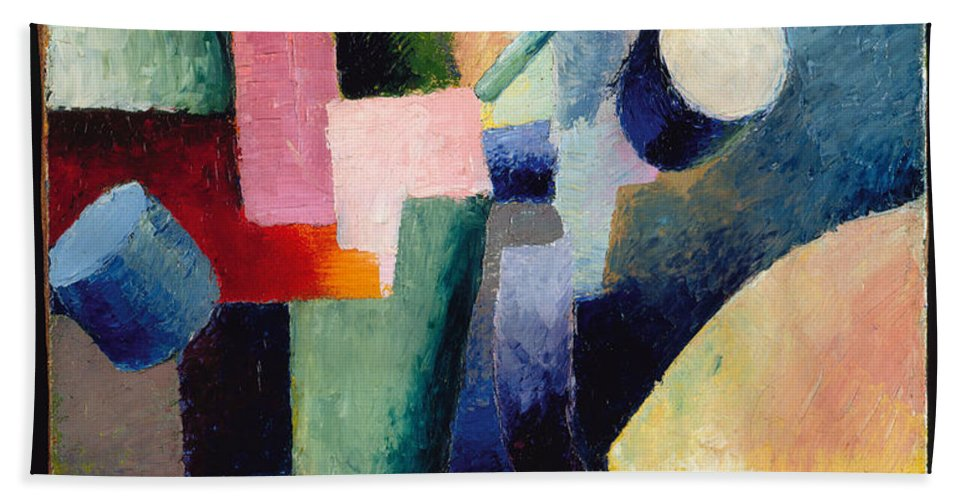 August Macke Hand Towel featuring the painting Colored Composition Of Forms  by August Macke