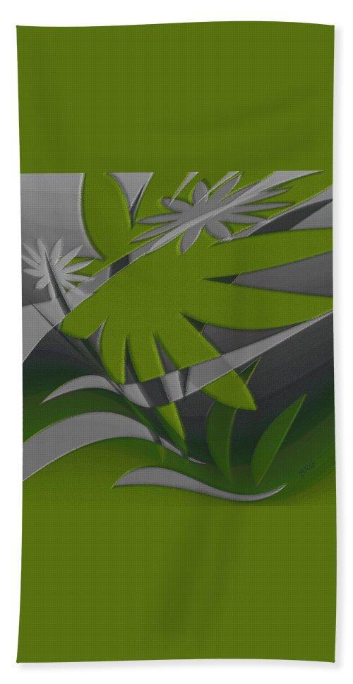 Green Abstract Bath Sheet featuring the digital art Colored Jungle Green by Ben and Raisa Gertsberg