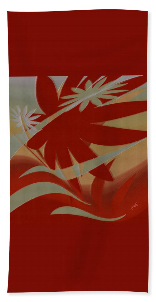 Abstract Bath Sheet featuring the digital art Colored Jungle Red by Ben and Raisa Gertsberg