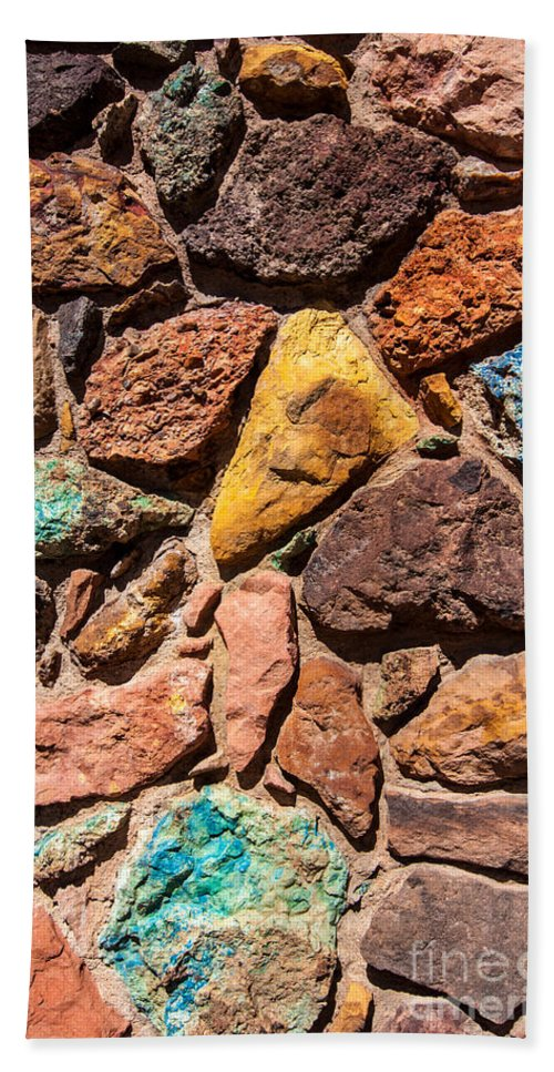 Colored Stones Bath Sheet featuring the photograph Colored Stone Rock Church Wall - Cedar City - Utah by Gary Whitton