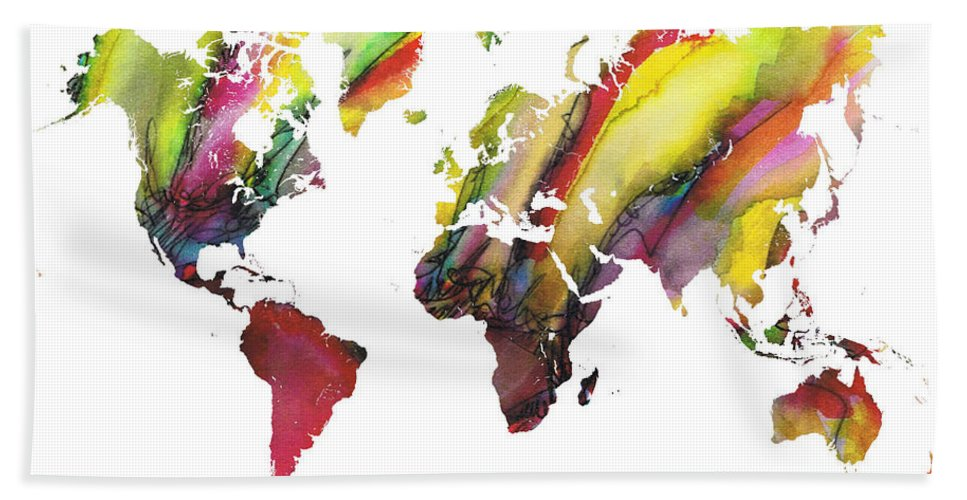 Map Of The World Hand Towel featuring the painting Colored World Map by Justyna JBJart