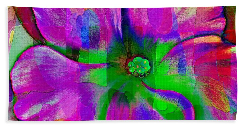 Colorful African Violet Hand Towel featuring the photograph Colorful African Violet by Barbara Griffin