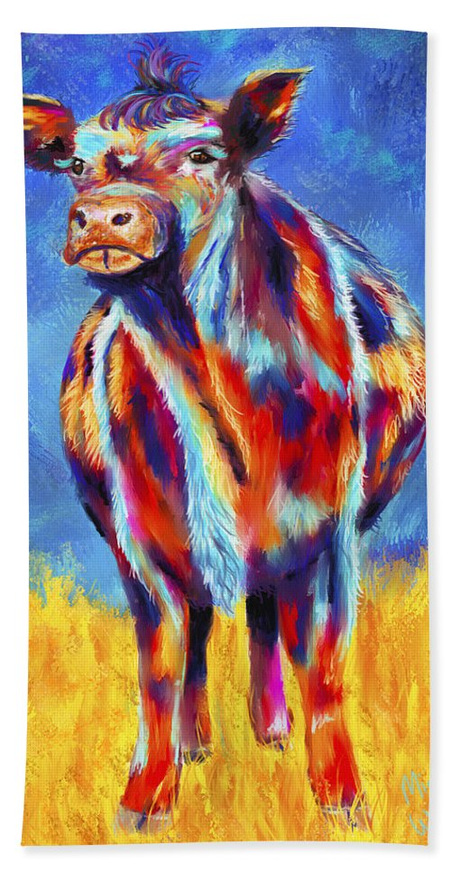 Cows Hand Towel featuring the painting Colorful Angus Cow by Michelle Wrighton