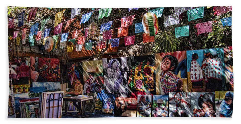 San Jose Del Cabo Bath Sheet featuring the photograph Colorful Art Store In Mexico by David Smith