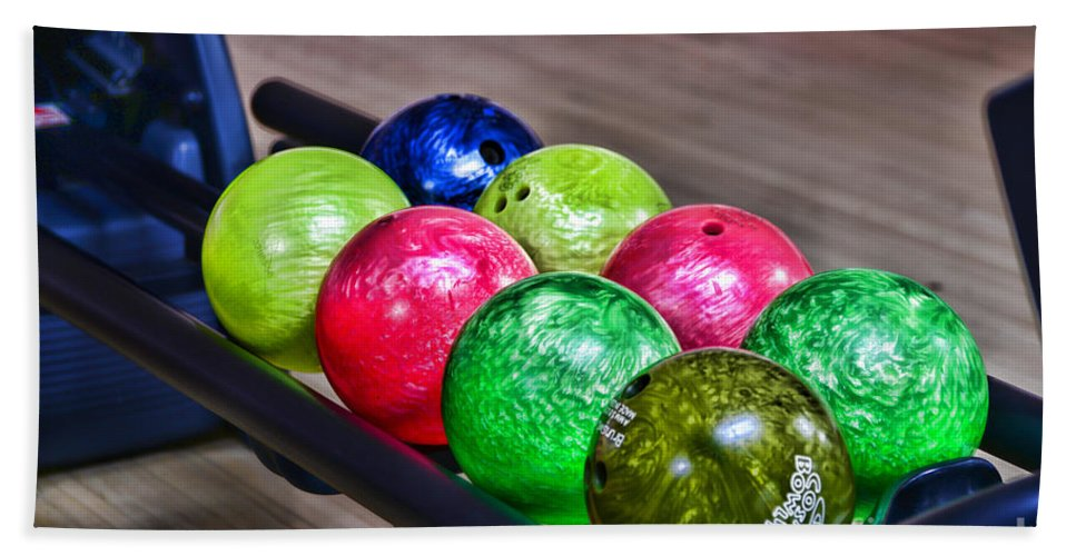 Paul Ward Hand Towel featuring the photograph Colorful Bowling Balls by Paul Ward