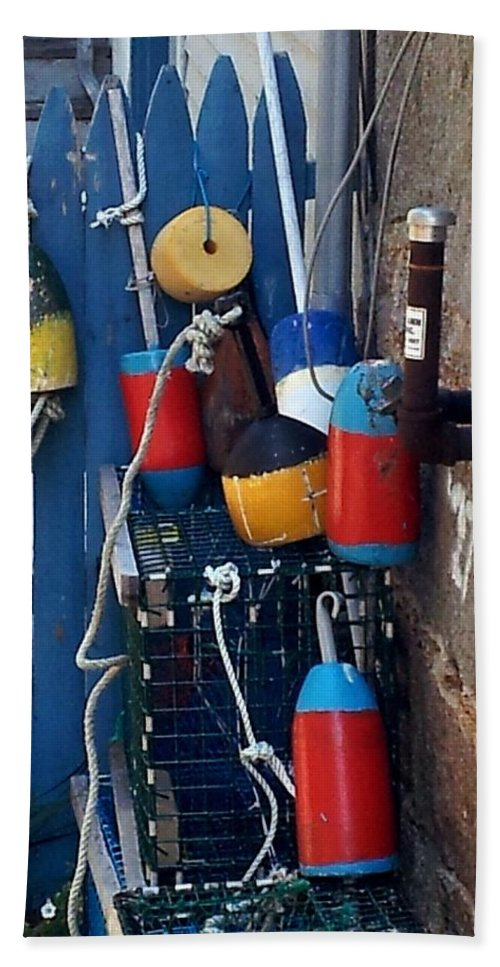 Coastal Hand Towel featuring the photograph Colorful Buoys by Christine Fournier