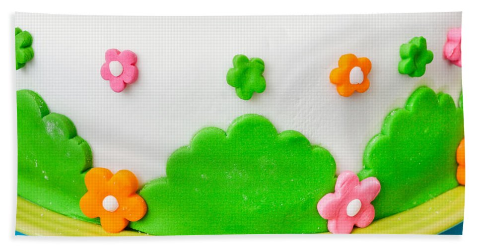 Anniversary Bath Sheet featuring the photograph Colorful Cake by Tom Gowanlock