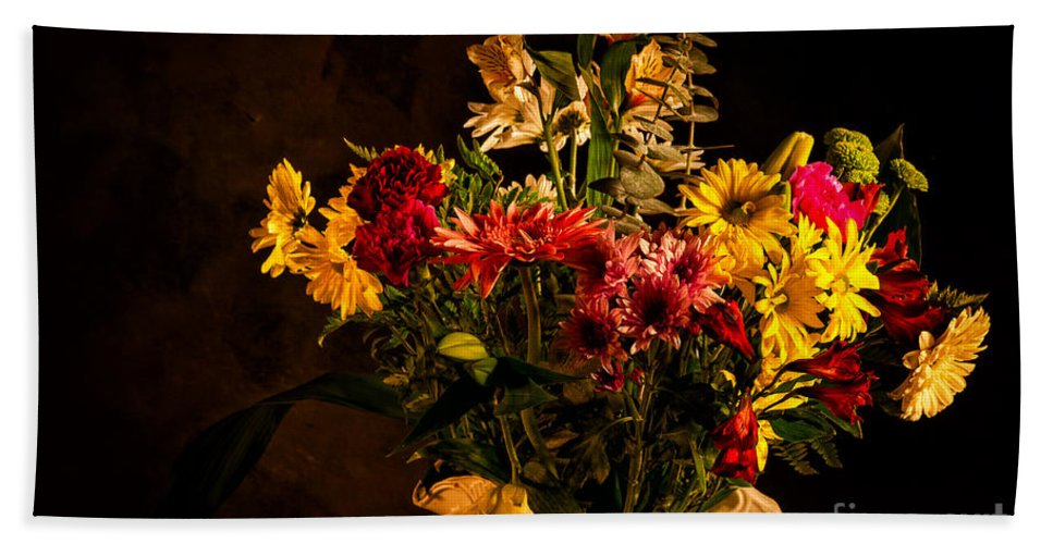 Colors Bath Sheet featuring the photograph Colorful Cut Flowers In A Vase by Les Palenik