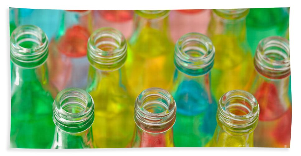 Drink Hand Towel featuring the photograph Colorful Drink Bottles by Grigorios Moraitis