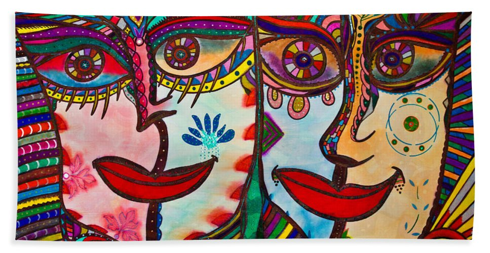 Colorful Faces Bath Sheet featuring the painting Colorful Faces Gazing - Ink Abstract Faces by Marie Jamieson