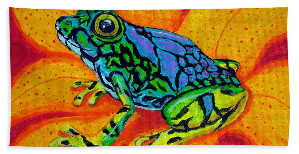 Frog Hand Towel featuring the painting Colorful Frog by Nick Gustafson