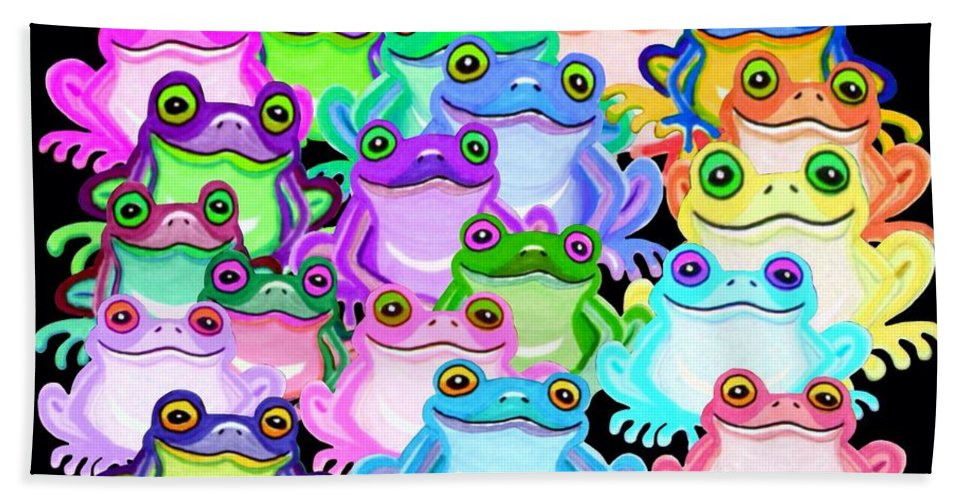 Frogs Hand Towel featuring the painting Colorful Frogs by Nick Gustafson