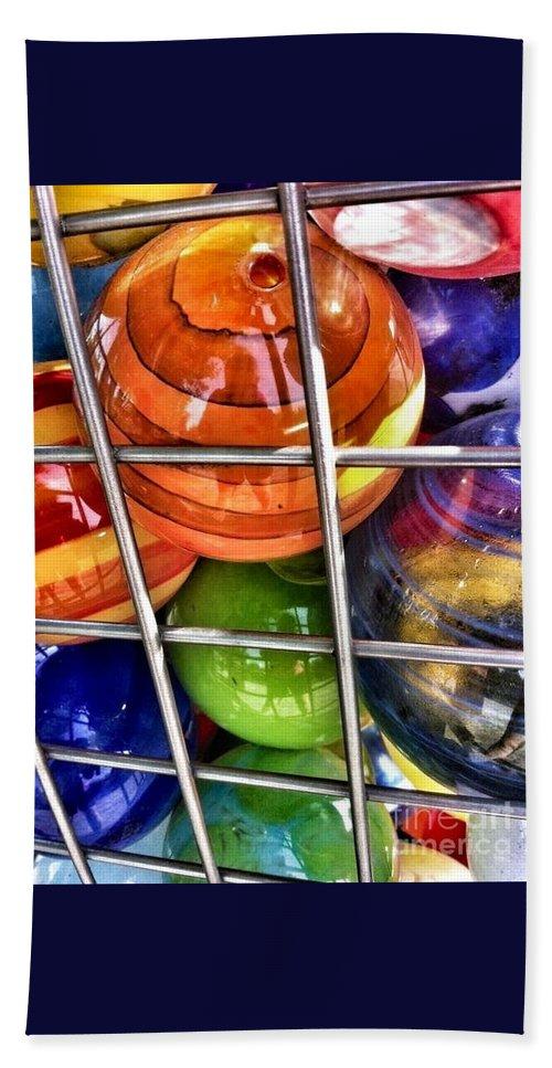Glass Balls Hand Towel featuring the photograph Colorful Glass Balls by Susan Garren