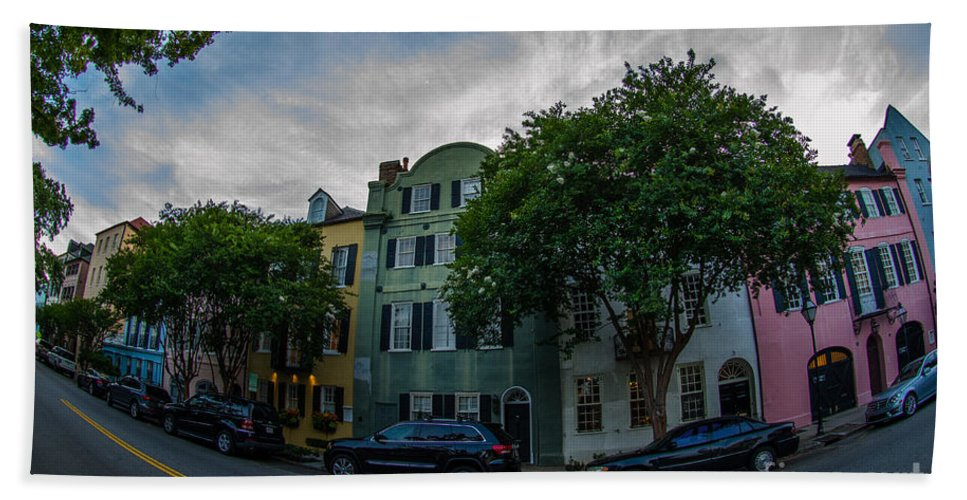 Rainbow Row Hand Towel featuring the photograph Colorful Houses by Dale Powell