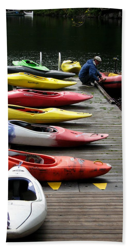 Landscape Hand Towel featuring the photograph Colorful Kayaks At Whistler Bc by Carlene Salazar