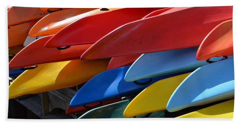 Kayaks Hand Towel featuring the photograph Colorful Kayaks by Toby McGuire