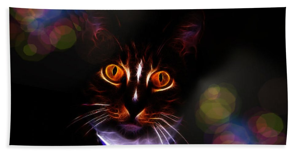 Cat Hand Towel featuring the photograph Colorful Kitty by Ericamaxine Price