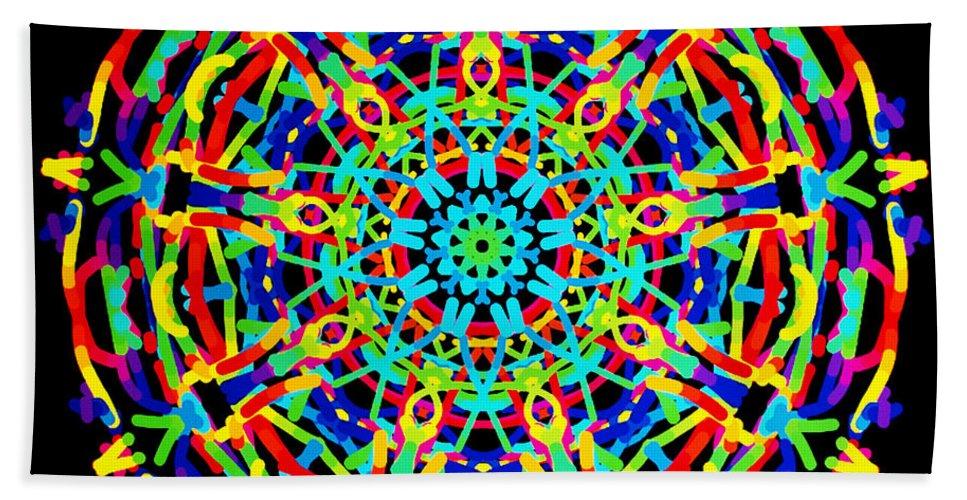 Barbara Snyder Bath Sheet featuring the digital art Colorful Kolide by Barbara Snyder