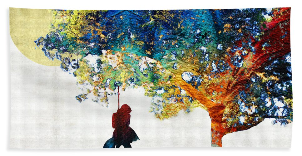 Tree Bath Towel featuring the painting Colorful Landscape Art - The Dreaming Tree - By Sharon Cummings by Sharon Cummings