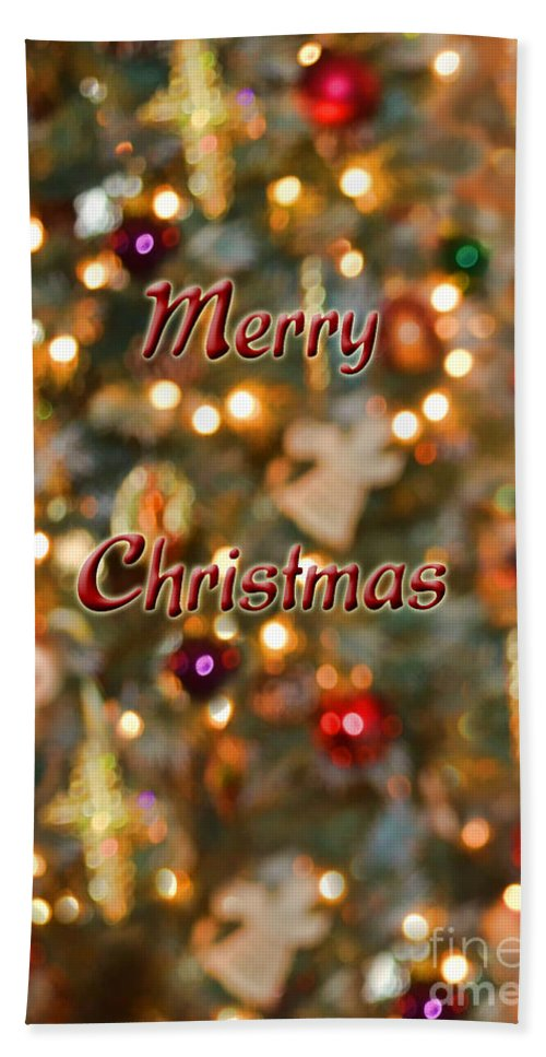 Holiday Hand Towel featuring the photograph Colorful Lights Christmas Card by Debbie Portwood