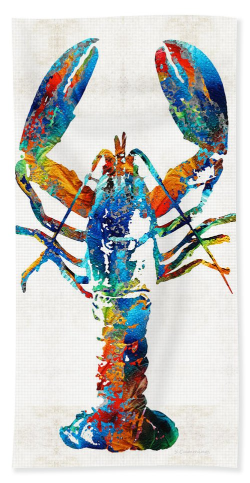 Lobster Bath Sheet featuring the painting Colorful Lobster Art By Sharon Cummings by Sharon Cummings