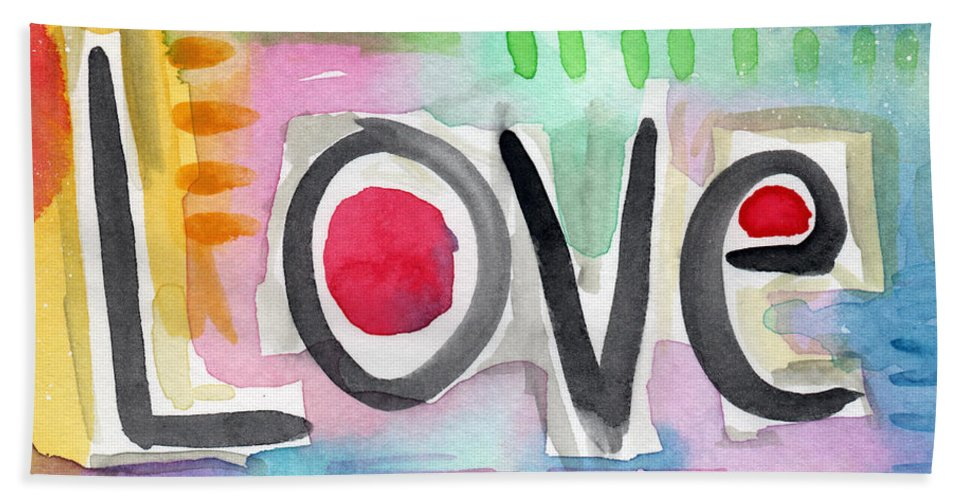 Love Bath Towel featuring the painting Colorful Love- Painting by Linda Woods