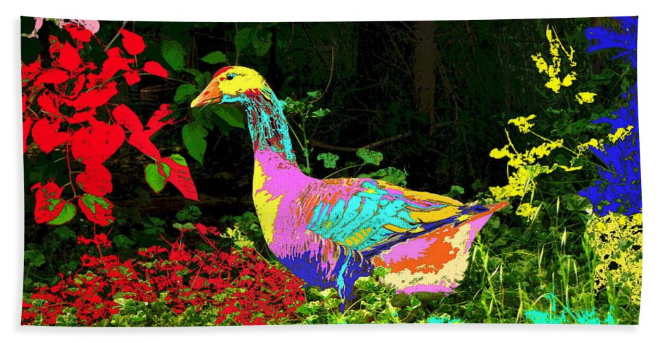 Goose Bath Sheet featuring the photograph Colorful Lucy Goosey by Joyce Dickens
