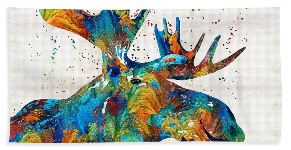 Moose Hand Towel featuring the painting Colorful Moose Art - Confetti - By Sharon Cummings by Sharon Cummings