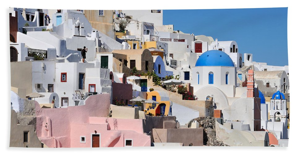 Santorini Bath Sheet featuring the photograph Colorful Oia by George Atsametakis