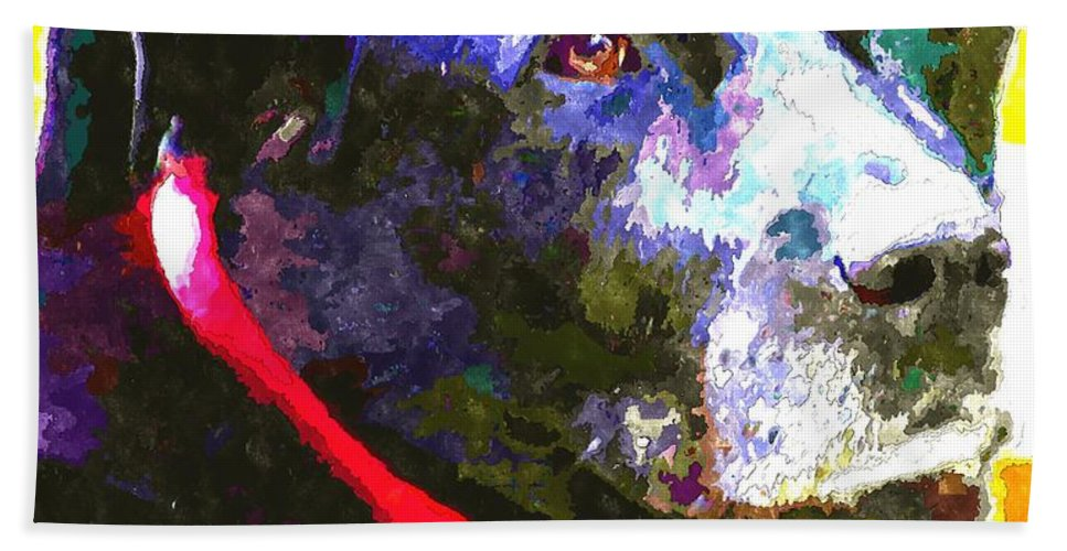 Colorful Old Dog Hand Towel featuring the photograph Colorful Old Dog by Barbara Griffin