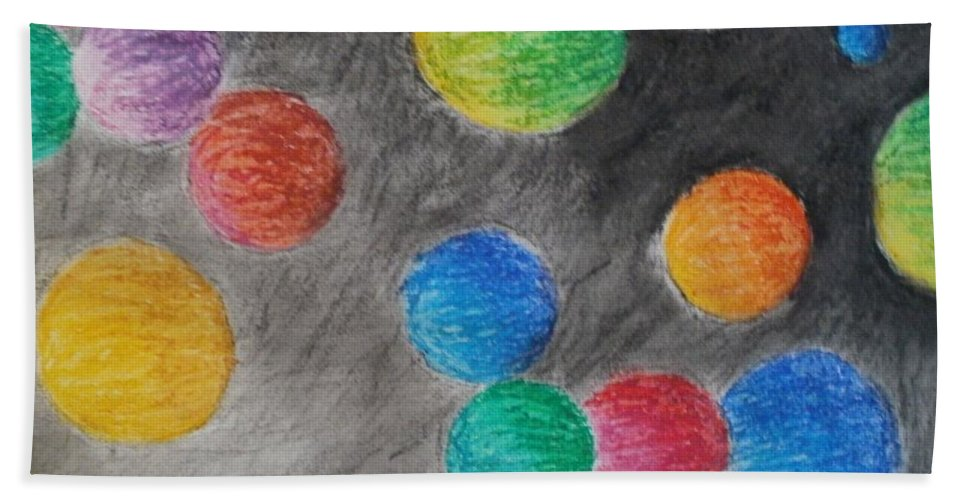 Orb Bath Sheet featuring the drawing Colorful Orbs by Thomasina Durkay