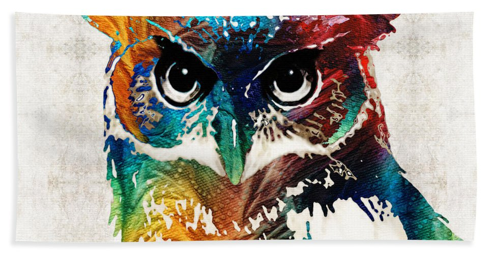 Owl Bath Sheet featuring the painting Colorful Owl Art - Wise Guy - By Sharon Cummings by Sharon Cummings