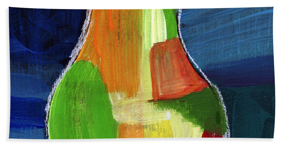 Pear Bath Towel featuring the painting Colorful Pear- Abstract Painting by Linda Woods