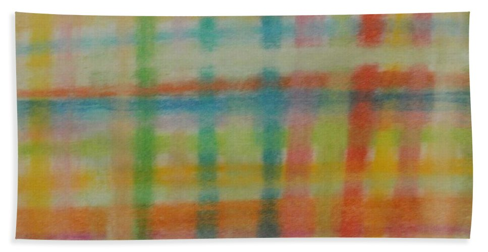 Plaid Bath Sheet featuring the drawing Colorful Plaid by Thomasina Durkay