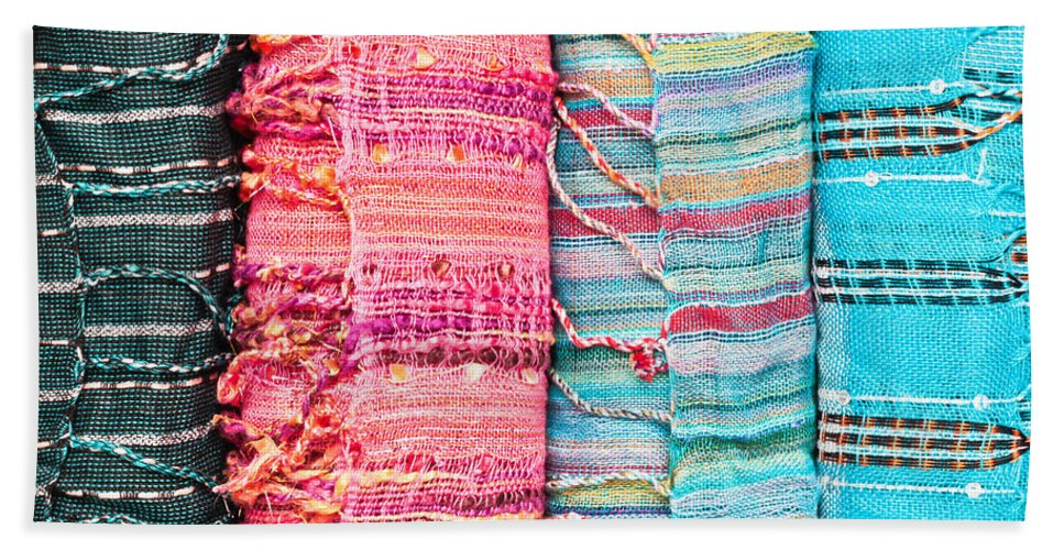 Accessory Hand Towel featuring the photograph Colorful Scarves by Tom Gowanlock