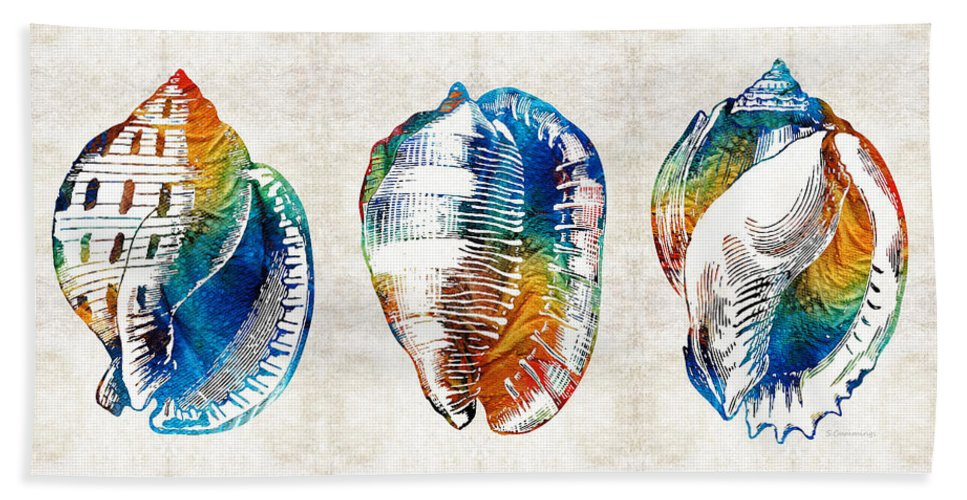 Shell Bath Sheet featuring the painting Colorful Seashell Art - Beach Trio - By Sharon Cummings by Sharon Cummings
